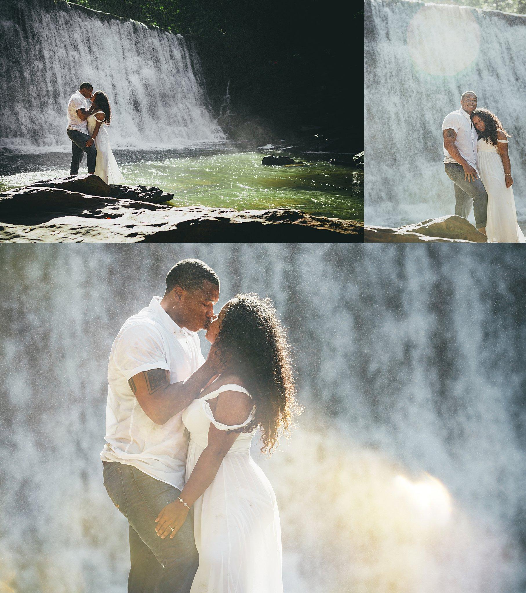 Vickery Falls at Roswell Mill Adventure Engagement Session Atlanta Wedding Photographers