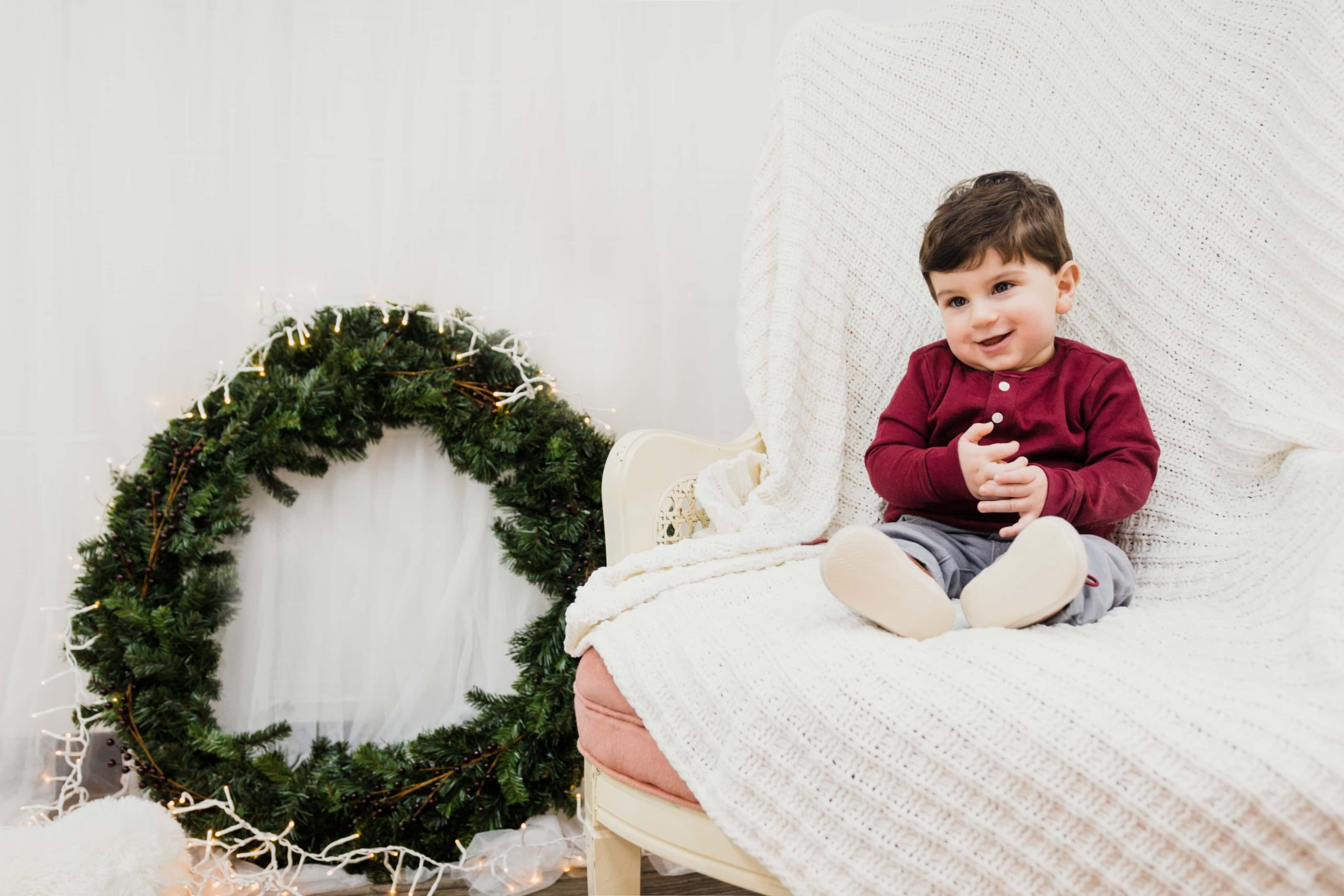 Atlanta Family Photographer Toddler Christmas Pictures in Studio