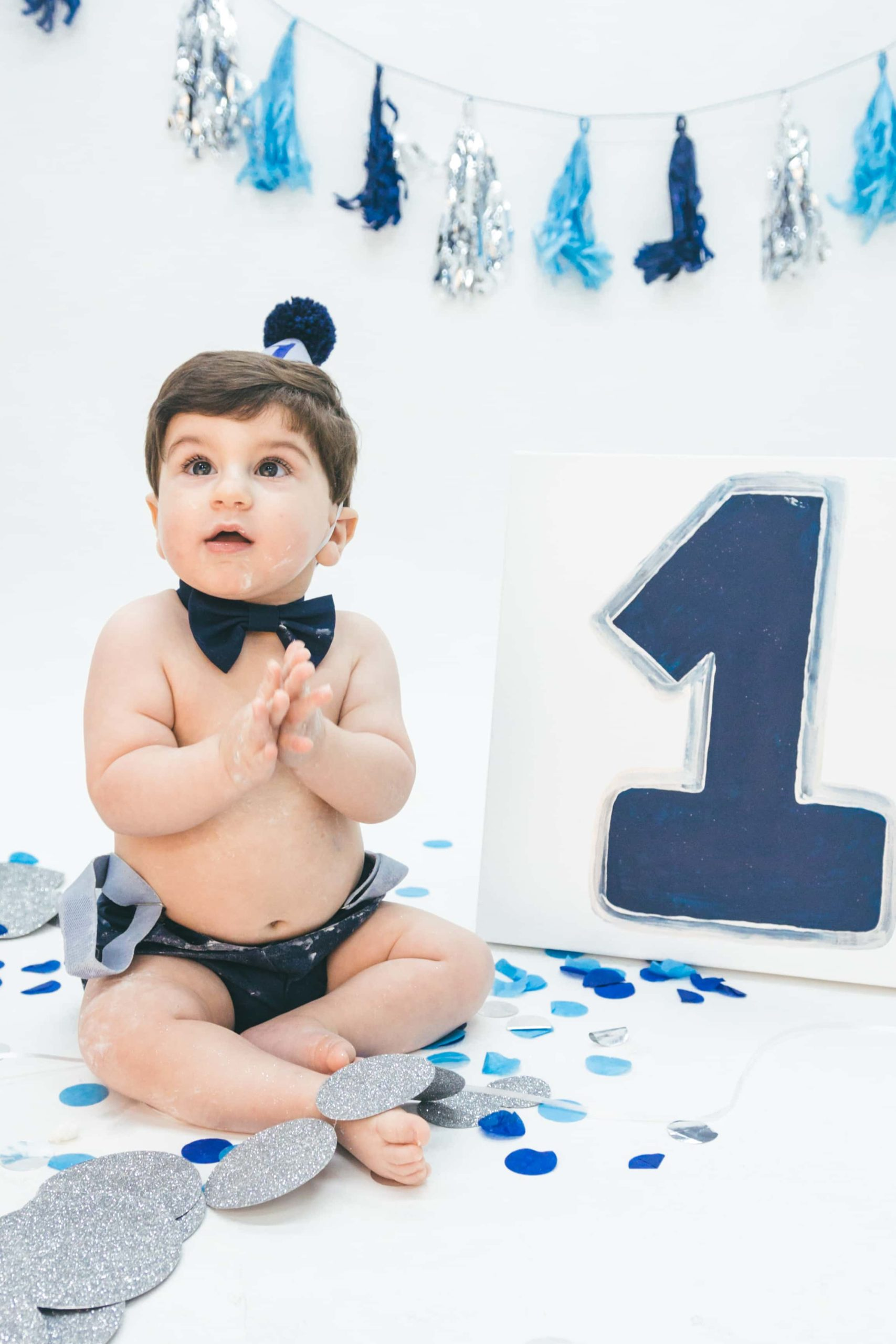 First Birthday Session Baby Boy Blue and Silver in Studio