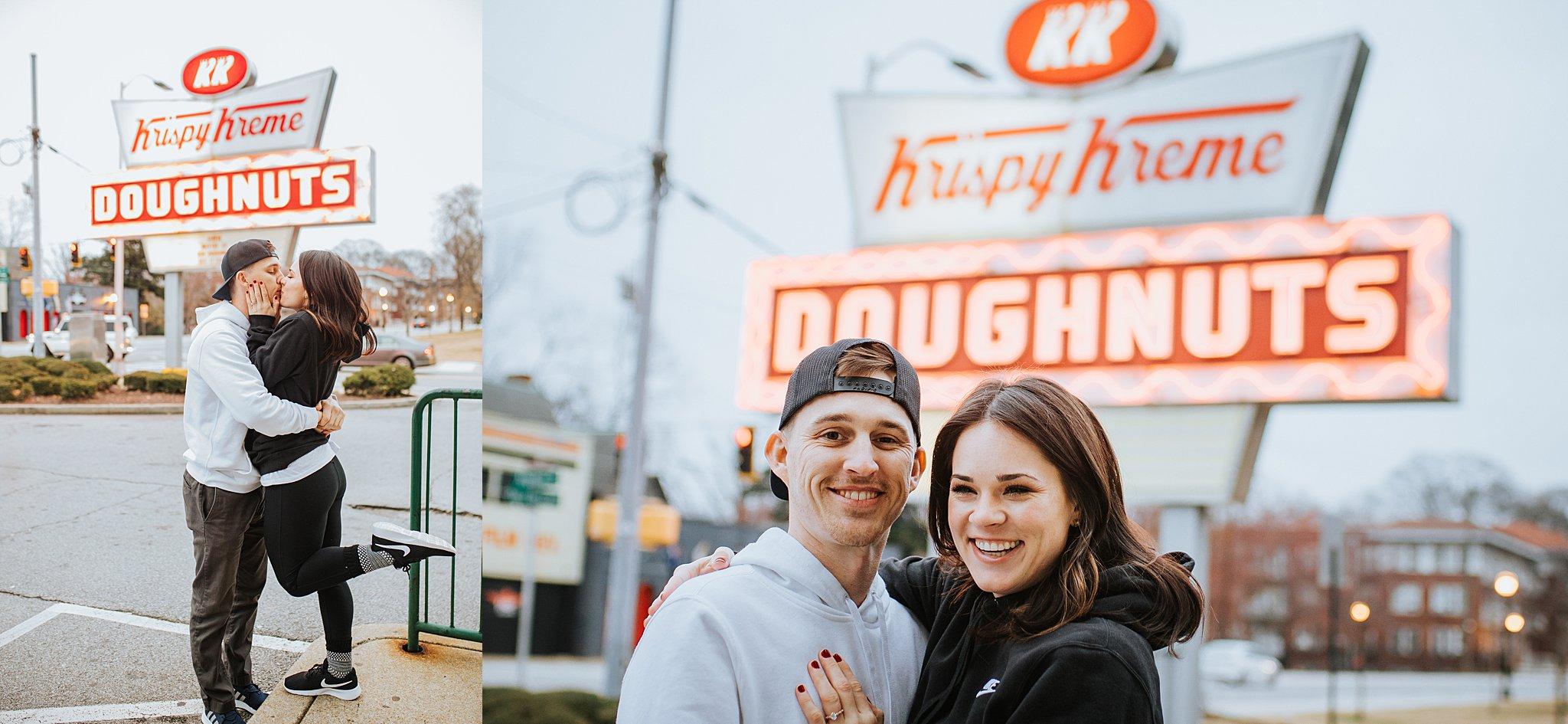 Atlanta Wedding Photographer Krispy Kreme Engagement Session