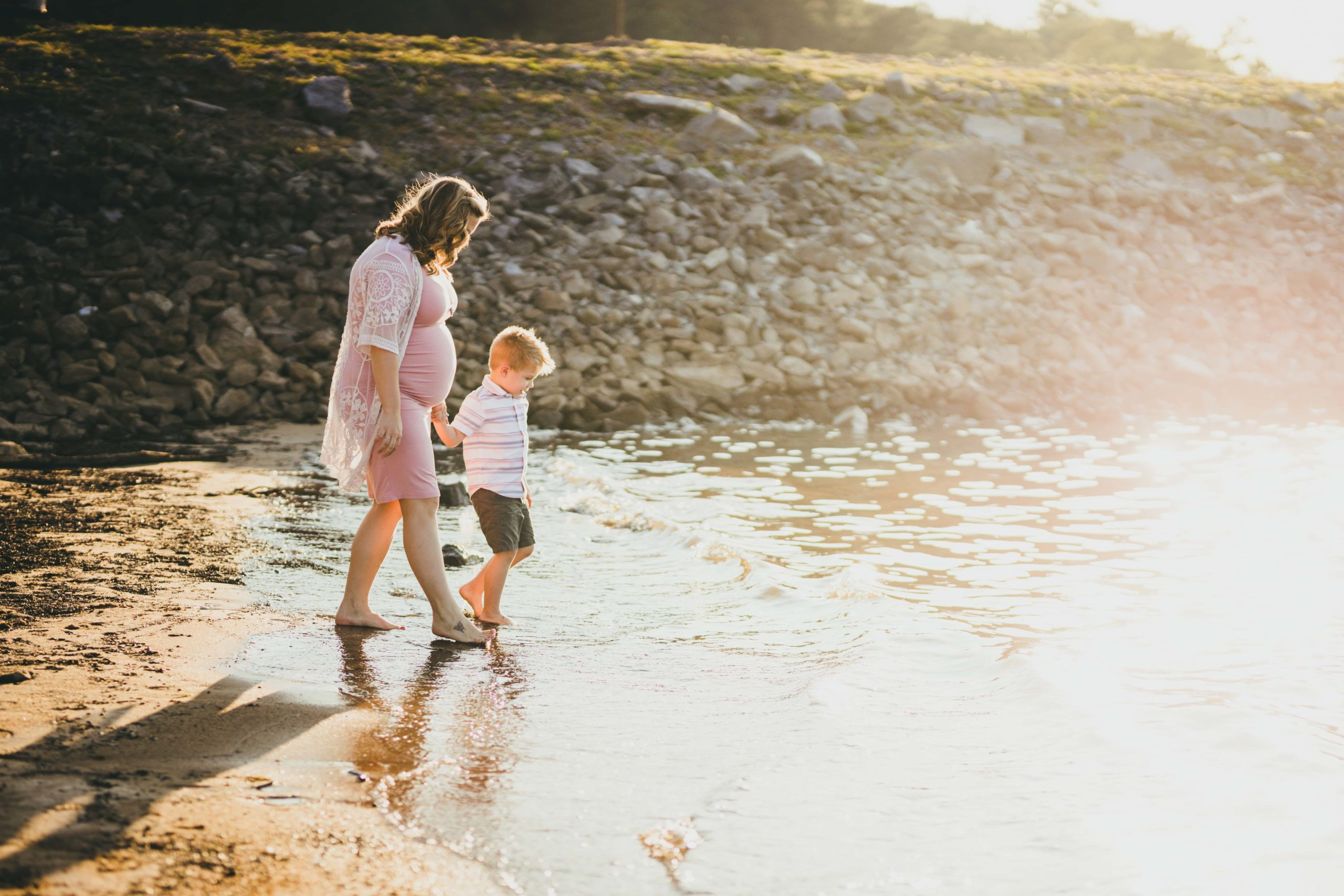 Atlanta Family Photographers Along the Waters Edge Mommy and son Maternity